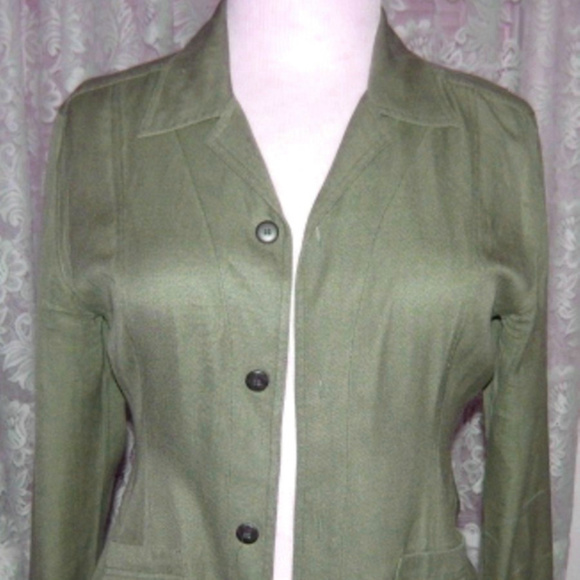 edb2cdd0d1a Chico's Jackets & Coats | Ladies Olive Green Silk Jacket Blouse Size ...